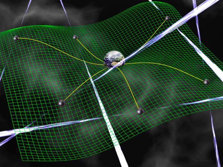 Earth centred on a curving green sheet representing spacetime and surrounded by pulsars with radio beams in all directions