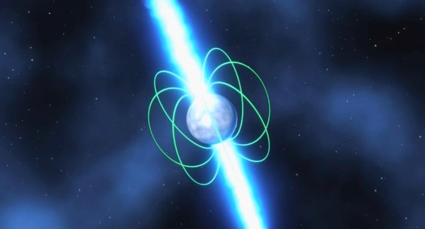 Pulsar star illustration with two beams coming out of poles and magnetic field lines showing.