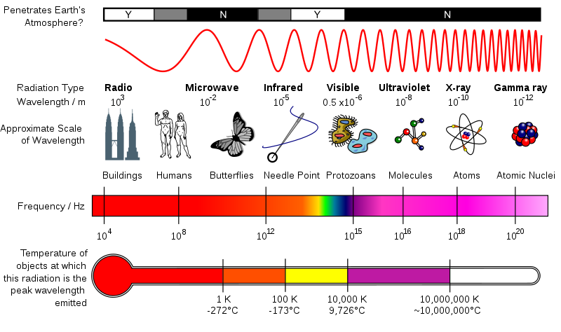 Diagram highlighting several comparissons of the EM spectrum, going from lowest wavelength in the left to highest in the right. The first is a bar graph indicating if the wavelength penetrates Earth's atmosphere. The second is a set of diagrams indicating the size of each wave relative to everyday objects. The third indicates the frequency and the last indicates the temperature.