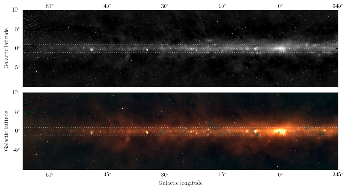 2 panels, the top showing the galactic plane in black and white, the bottom showing the same plane – with more details in colour.