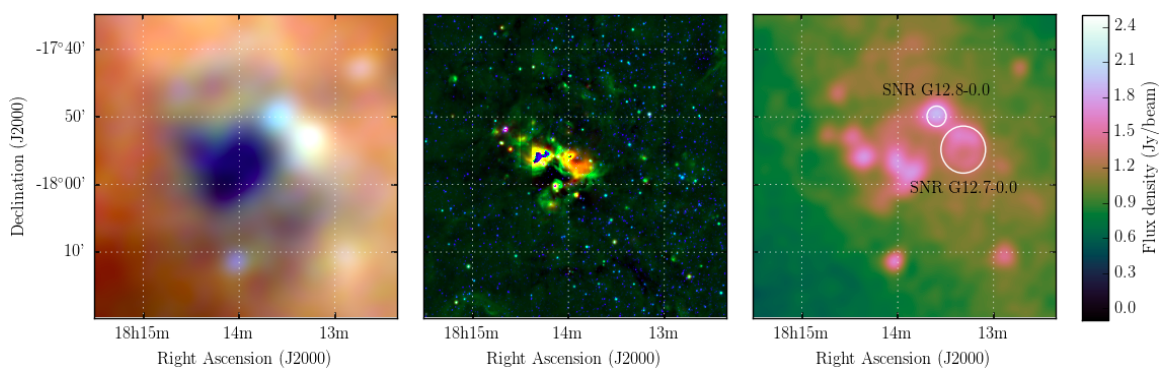 Three square panels, first showing a blurry like image of orange-hued colour surrounding a deep blue centre, with several random light blue globules. Second panel showing a star field and nebulosity in the centre with main colour being green. Last panel showing mostly green fill and small, bright pink patches with 2 circles outlined.