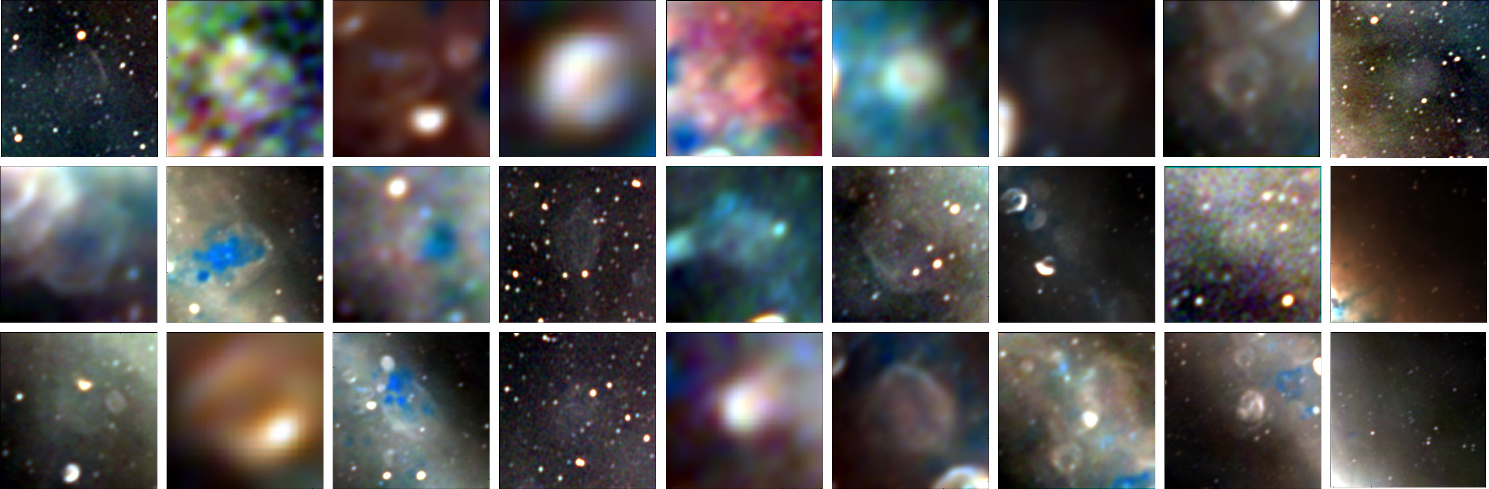 Grid of 27 images (3 x 9) showing zoomed in images of the new supernova remnants.