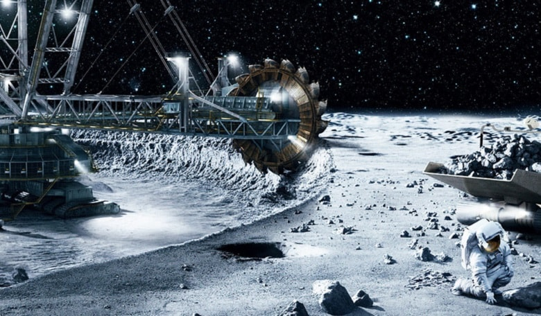 Surface of the moon with crane like structure holding a mining tool which is extracting and sifting through moon material. In the foreground an astronaut crouches to sample the regolith.