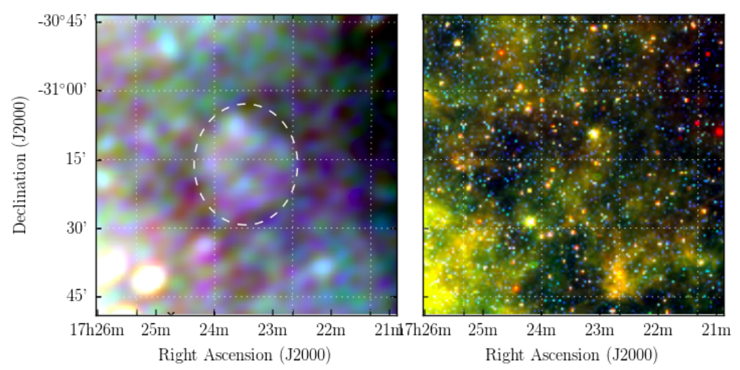Two square cubes. The first showing an unfocused blurry purple and light blue peppered image, with an oval outlined in the centre. The second showing a star field with nebulosity and the main colour as yellow