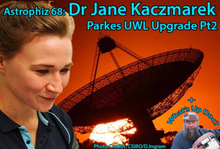 Astrophiz 94 cover art - showing Dr. Jane in front of Parkes Dish at sunset