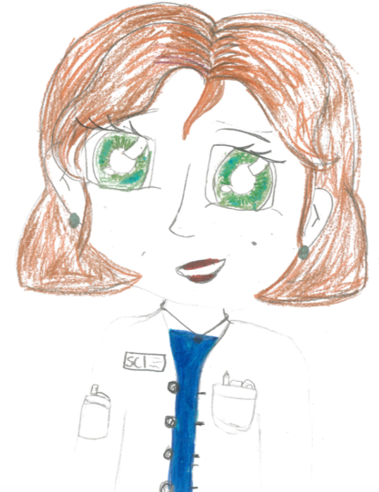 Drawing of a woman scientists wearing a white lab coat