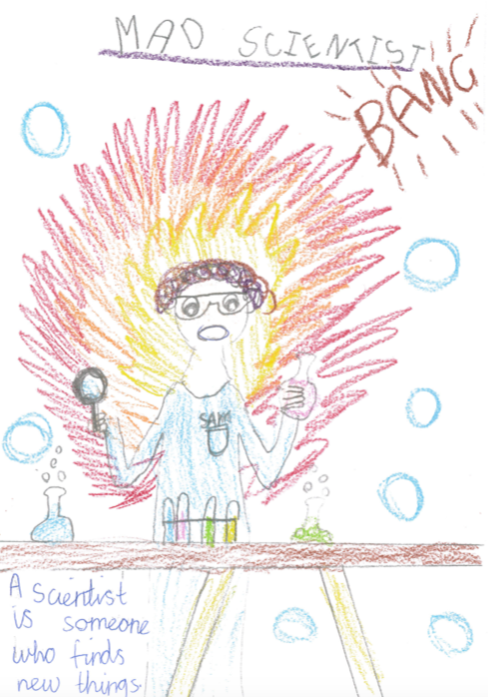 Student drawing of mad scientists (male) with beakers and explosions