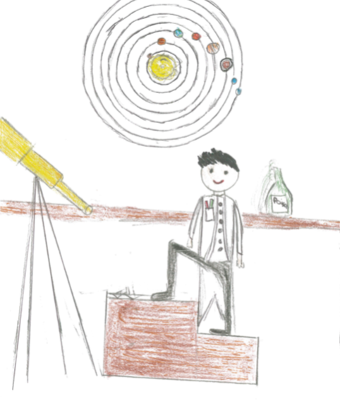 student drawing of male astronomer standing on steps near telescope