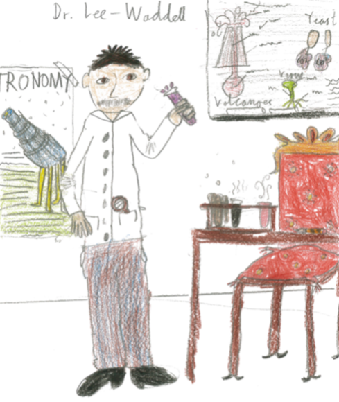 Student drawing of male scientist in lab with beaker