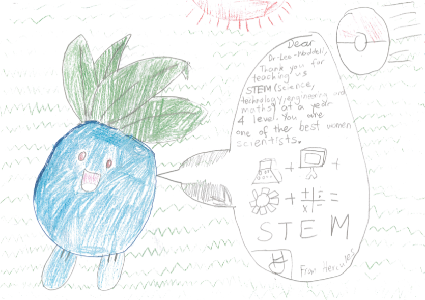 Student drawing of round blue character with no arms, 2 legs and leaves growing from its head with a speech bubble featuring a short letter and the words STEM with representative symbols.