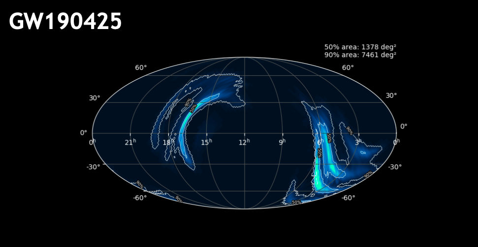 Sky-map plot showing regions (large and dispersed) of where localisation of this event occurred.