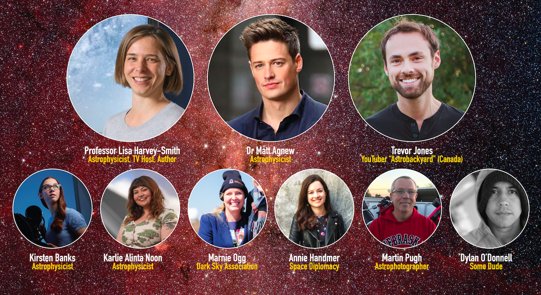 Image of speakers attending event in circles, surrounded by starry background image.