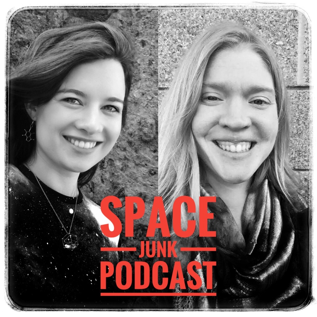 Annie Handmer and Ingrid Ockert both smiling with the name Space Junk Podcast