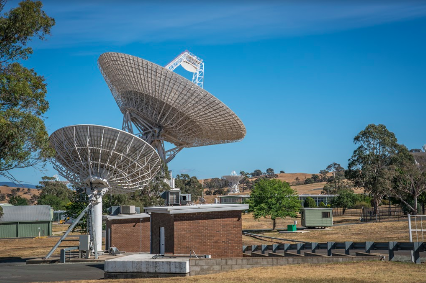 Large Dish in background and smaller dish in foreground - both angled upwards