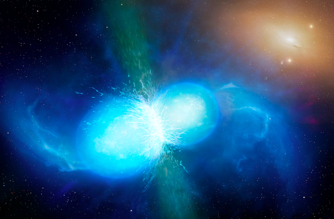 illustration of two blue neutron stars merging, with explosion emanating from the point of contact.