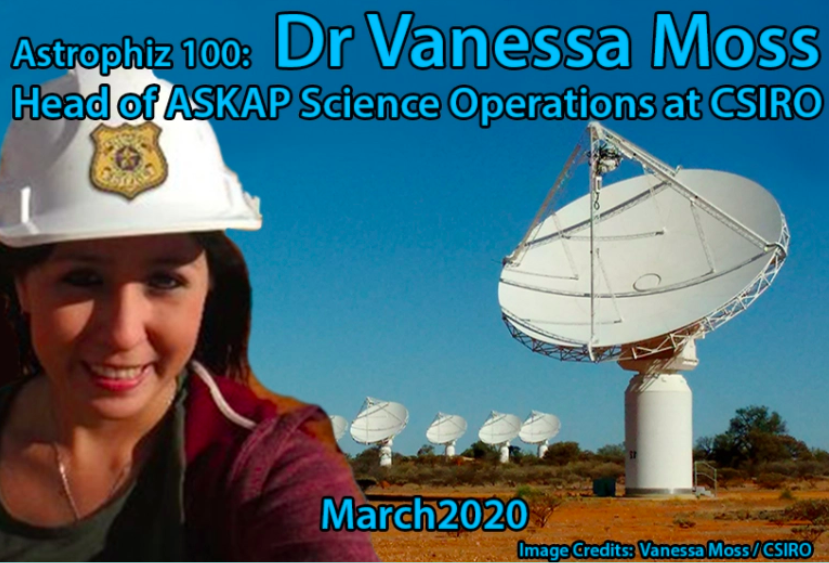 Astrophiz branding with Vanessa Moss wearing a helmet and pictured in front of ASKAP dishes