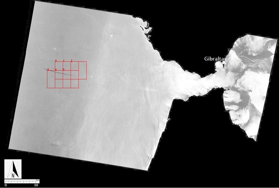Black and white image with smaller red boxes highlighting a strip in the ocean which is an oil spill.