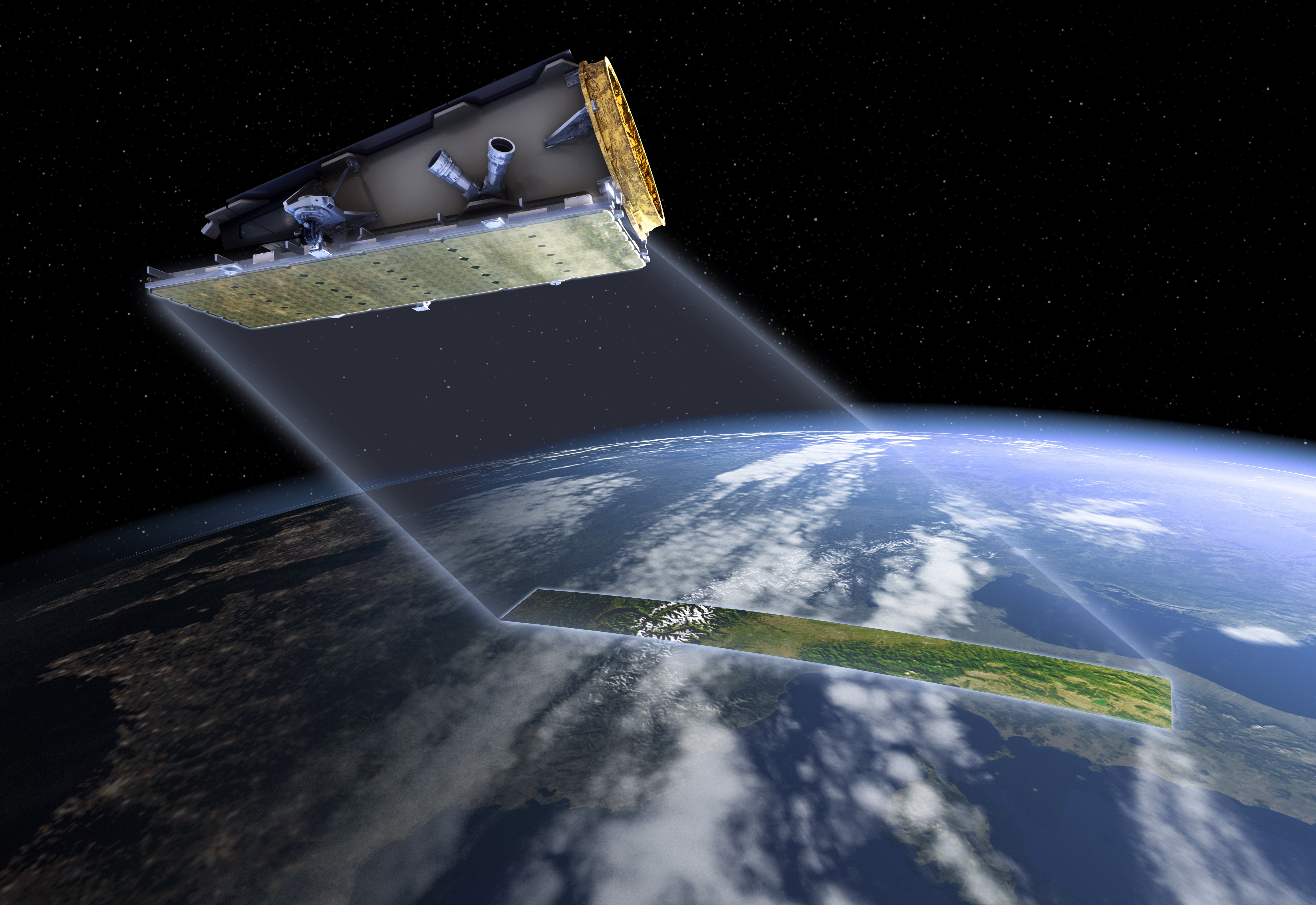 NovaSAR-1 satellite in orbit, with beams sweeping across Earth globe below. The beam which forms a strip on the Earth is looking through the atmosphere like a cross section.