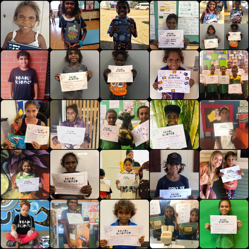 Grid view of young Indigenous kids holding up their Deadly Science certificates.