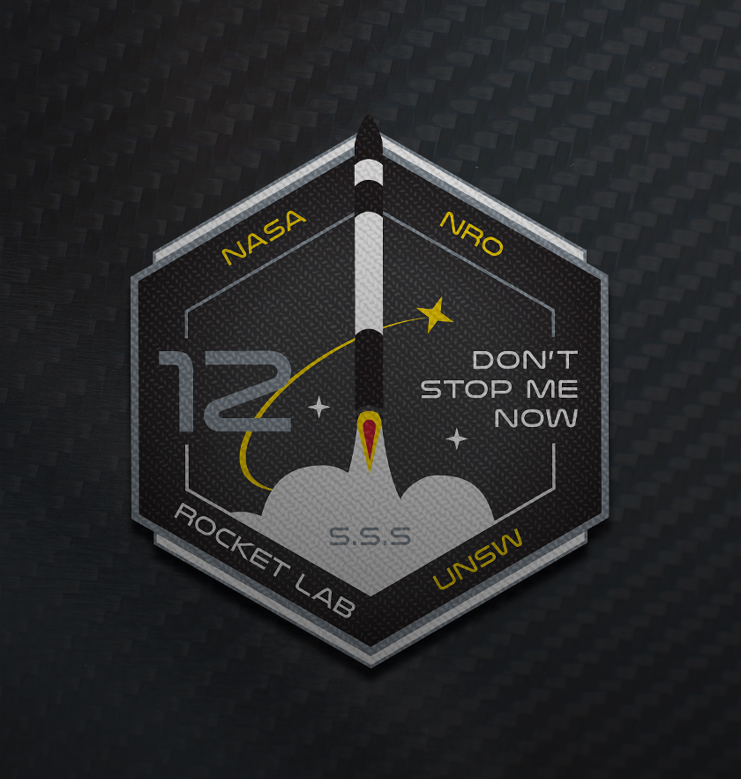 Mission patch hexagon with an embroidered rocket lifting off, a star in orbit around it, the names of the three payload providers surrounding it and a big number 12 to define the mission number.