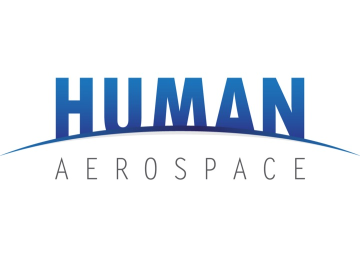 "The word ""human"" written in a bold blue, partially cut off at the bottom by a curved line, and below it in smaller writing the word ""aerospace""."