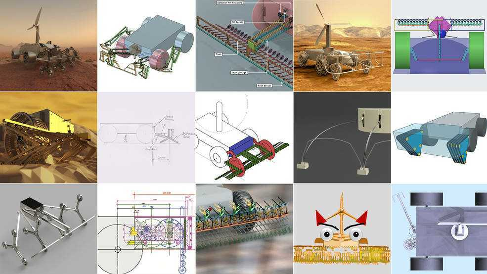 A collage of fifteen images, each showing a design of a rover obstacle-avoidance system.
