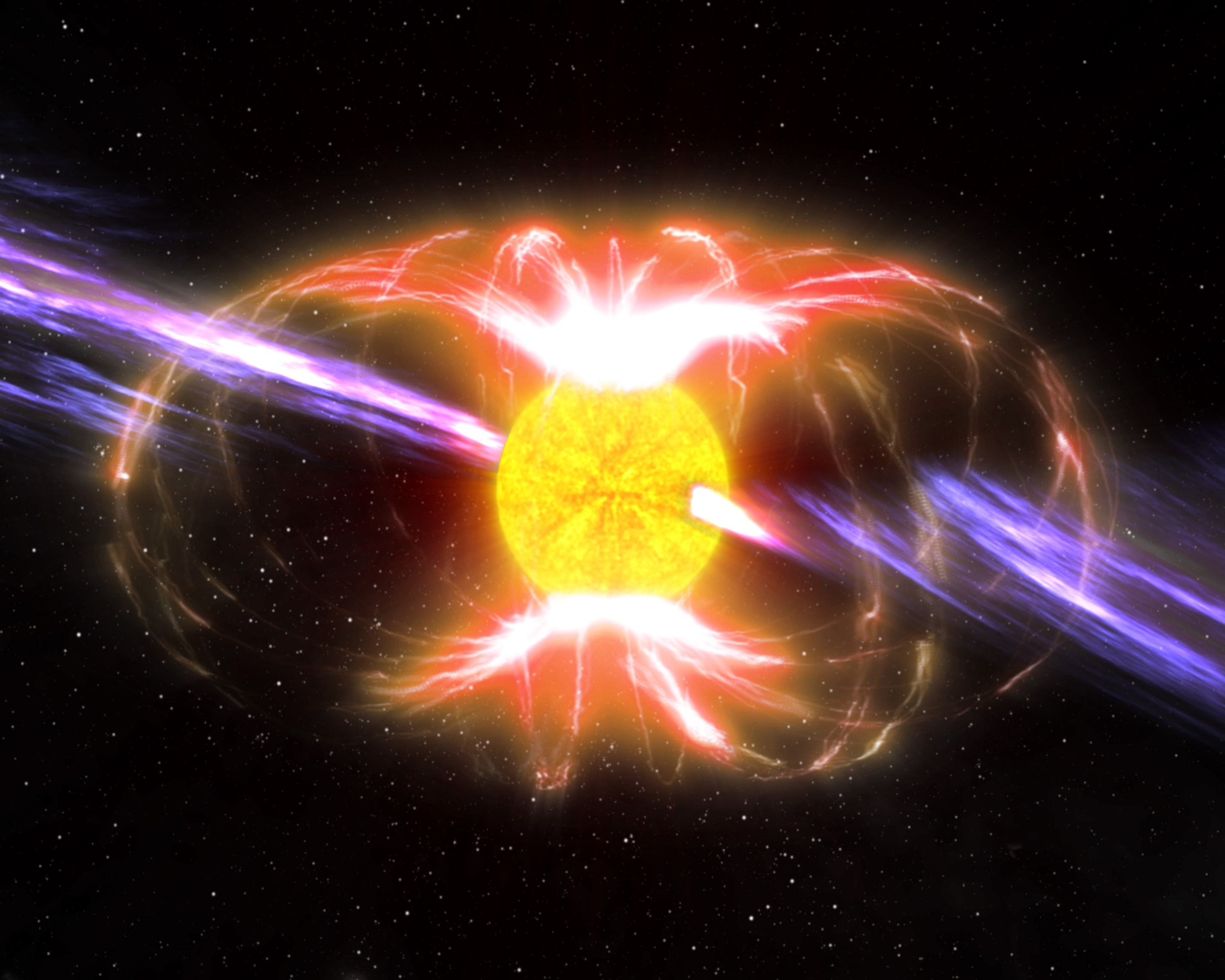 An compact star with a strong magnetic field and light emitting from its spin axis