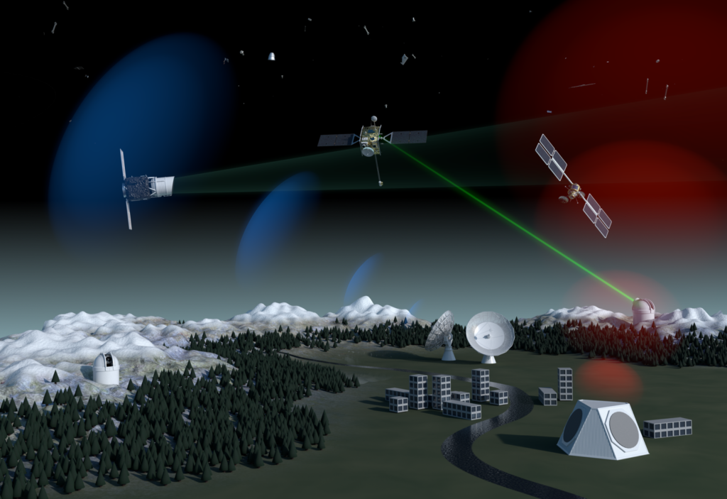 graphic showing a small city with surrounding observatories and snow capped mountains, covered in tall pine trees. Large satellite dishes outside the city are firing lasers at three orbiting space satellites, which are also scanning each other. Shade of blue and red spheres in background.