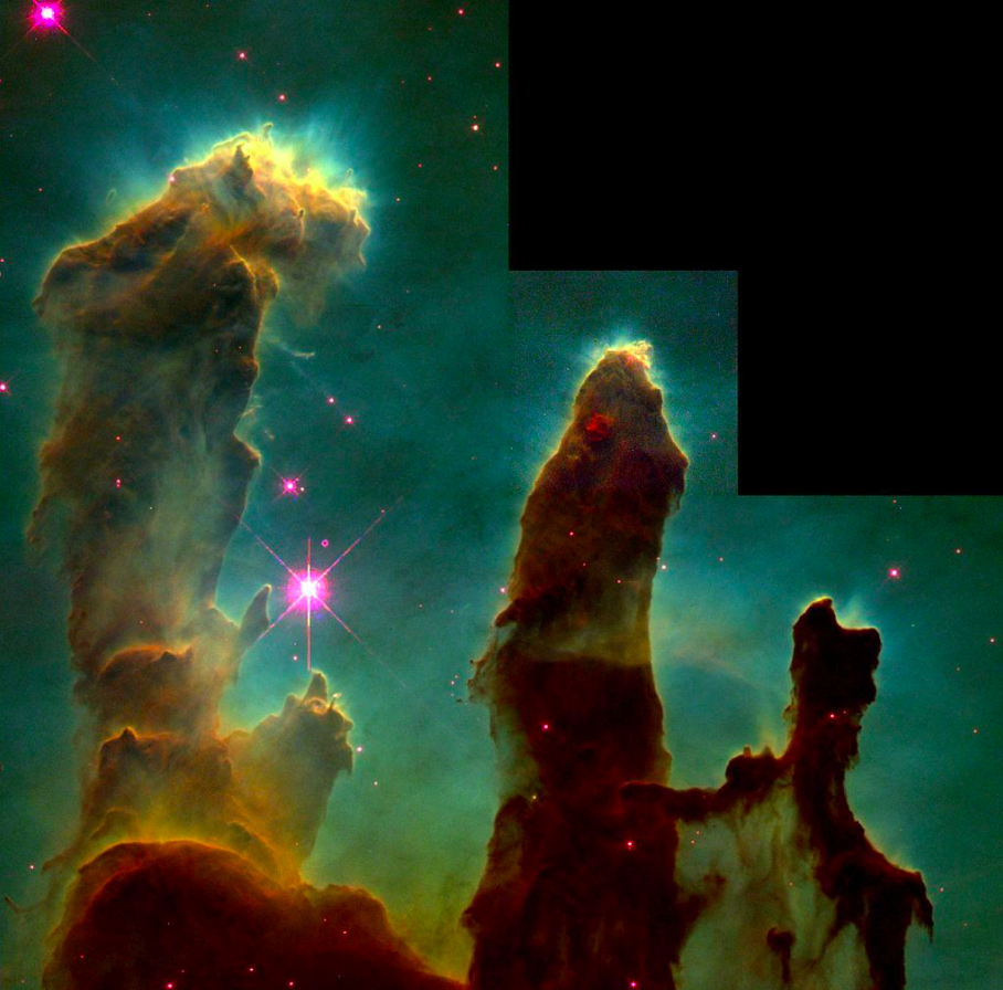 hree red/brown Finger-like pillar structures with greenish background, and small nodules at the top, along with top sections illuminated in yellow light. Near the centre, a bright purple star.