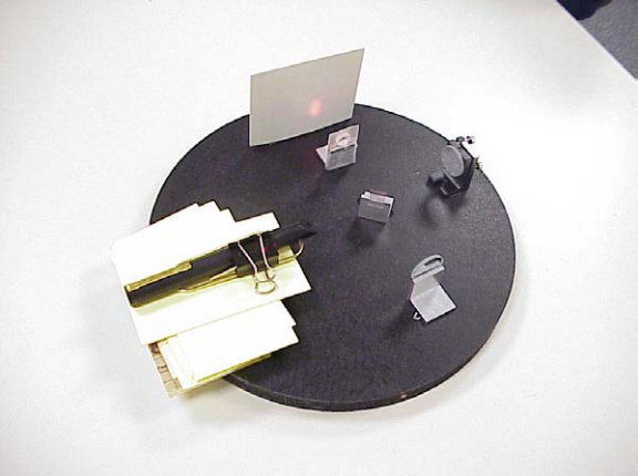 A small device built with a laser pointer, some mirrors and mounts