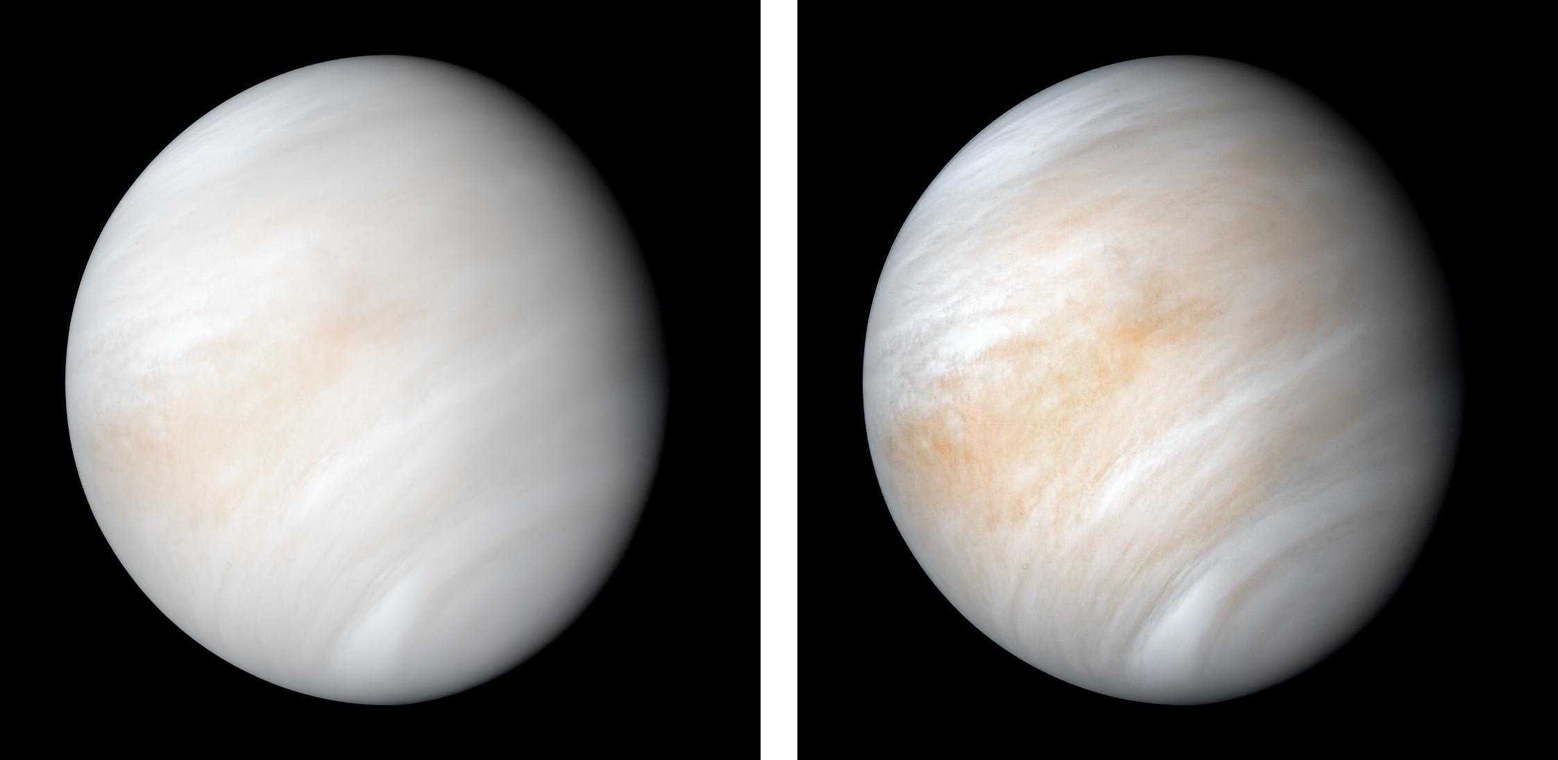 Two side-by-side images of the planet Venus, which is grey-blue and orange. The planet's colours change slightly between the images