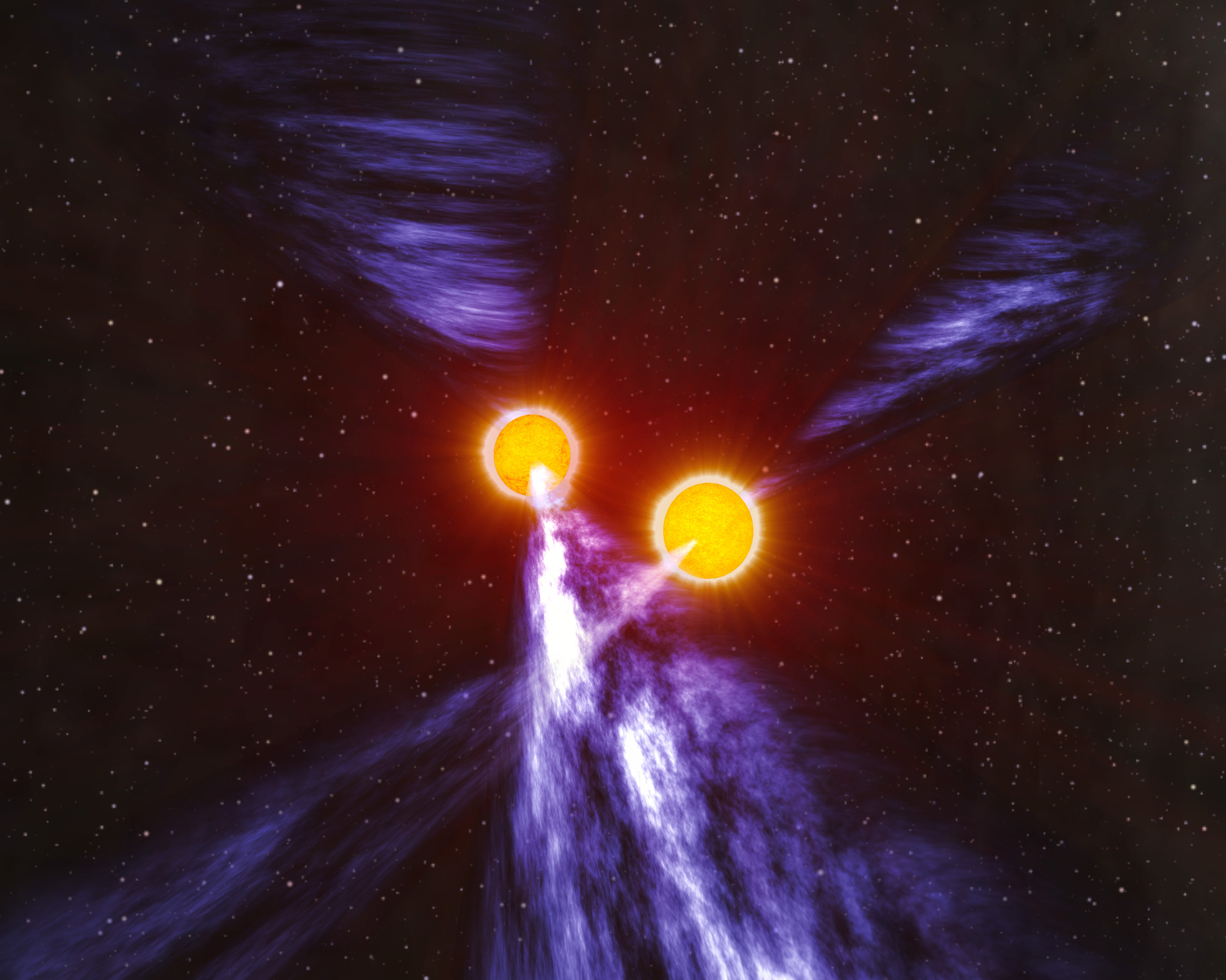 Artist illustration of two pulsars next to each other. Pulsars are radiant and orange. Beaming out from each of their poles, is purple high energy material. The backdrop is distant stars.
