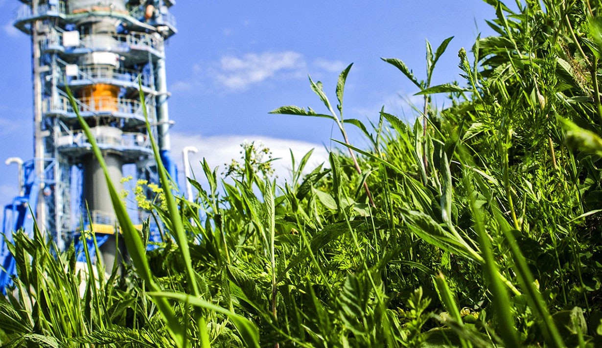 Field of green plants in foreground with rocket engine testing structure in background.