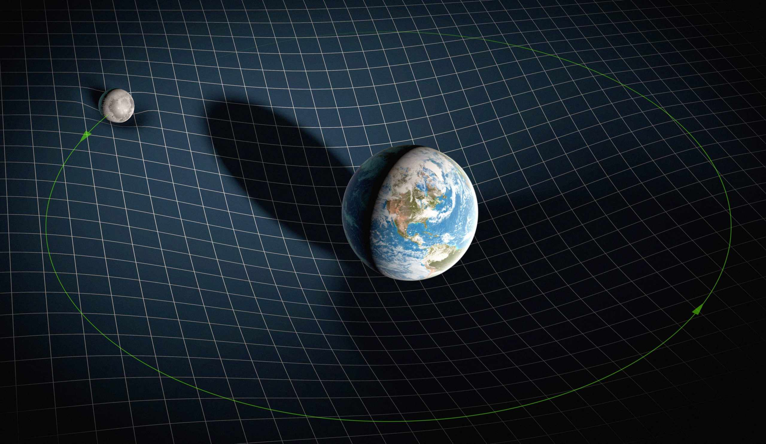 Illustration of Earth and Moon on a grid. Moon's orbit drawn in. Both Earth and Moon causing depression on grid below them.