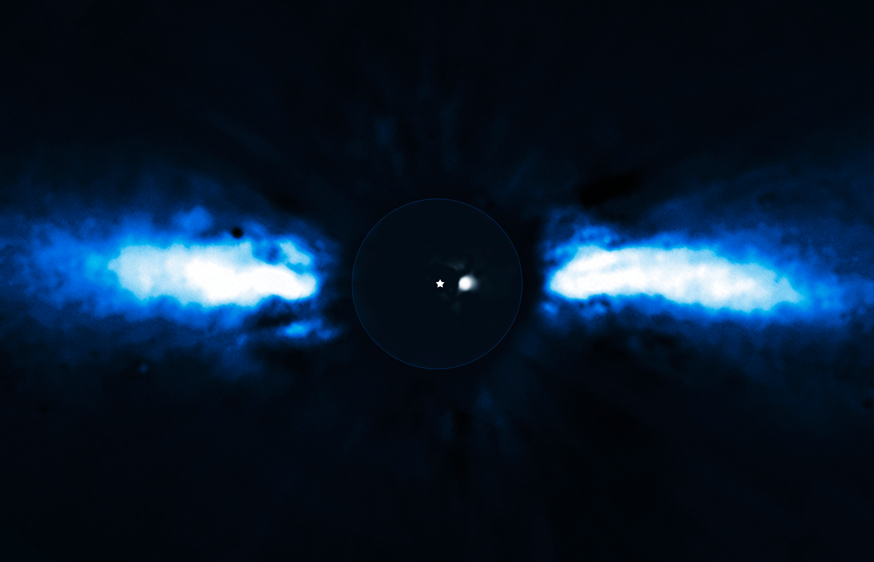 Image of a blacked out circle with a star point in centre and a small light blob next to it. Extending out from the blacked out circle are blue horizontal clouds that represent the debris in the system.