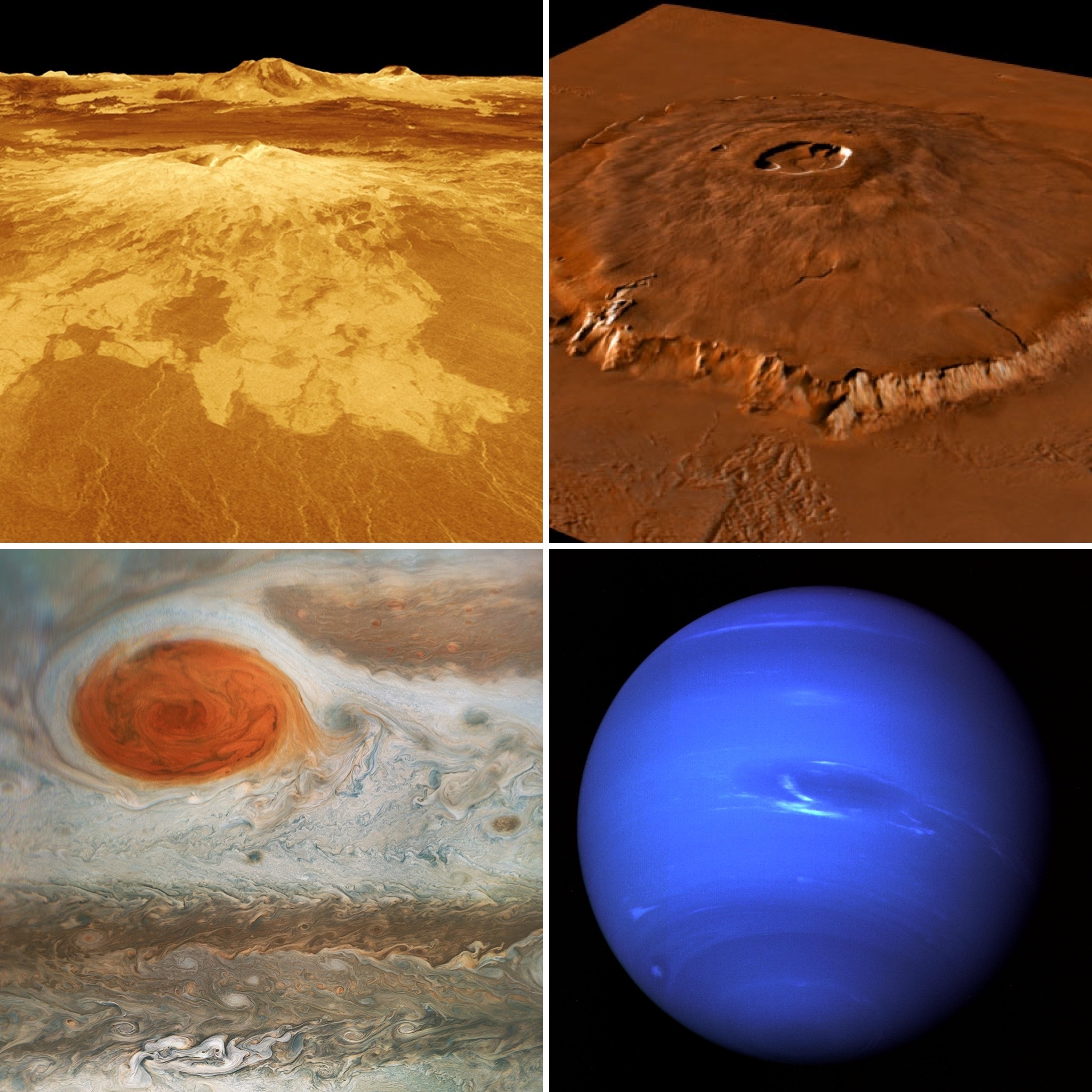 Collage of four images - Yellow surface of Venus with rising mountains, then a large shield volcano, then storm clouds on Jupiter with a red oval, then the blue disc of Neptune