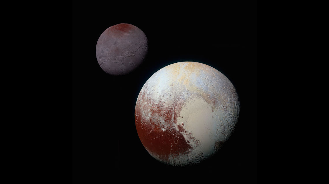 Pluto and Charon placed next to each other. Both objects show geological features with prominent red hues on them.