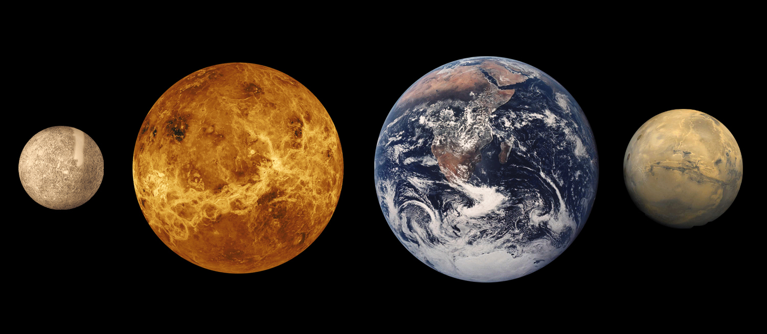 Landscape collage image of Mercury, Venus, Earth and Mars. Venus is shown as per radar images with surface revealed.