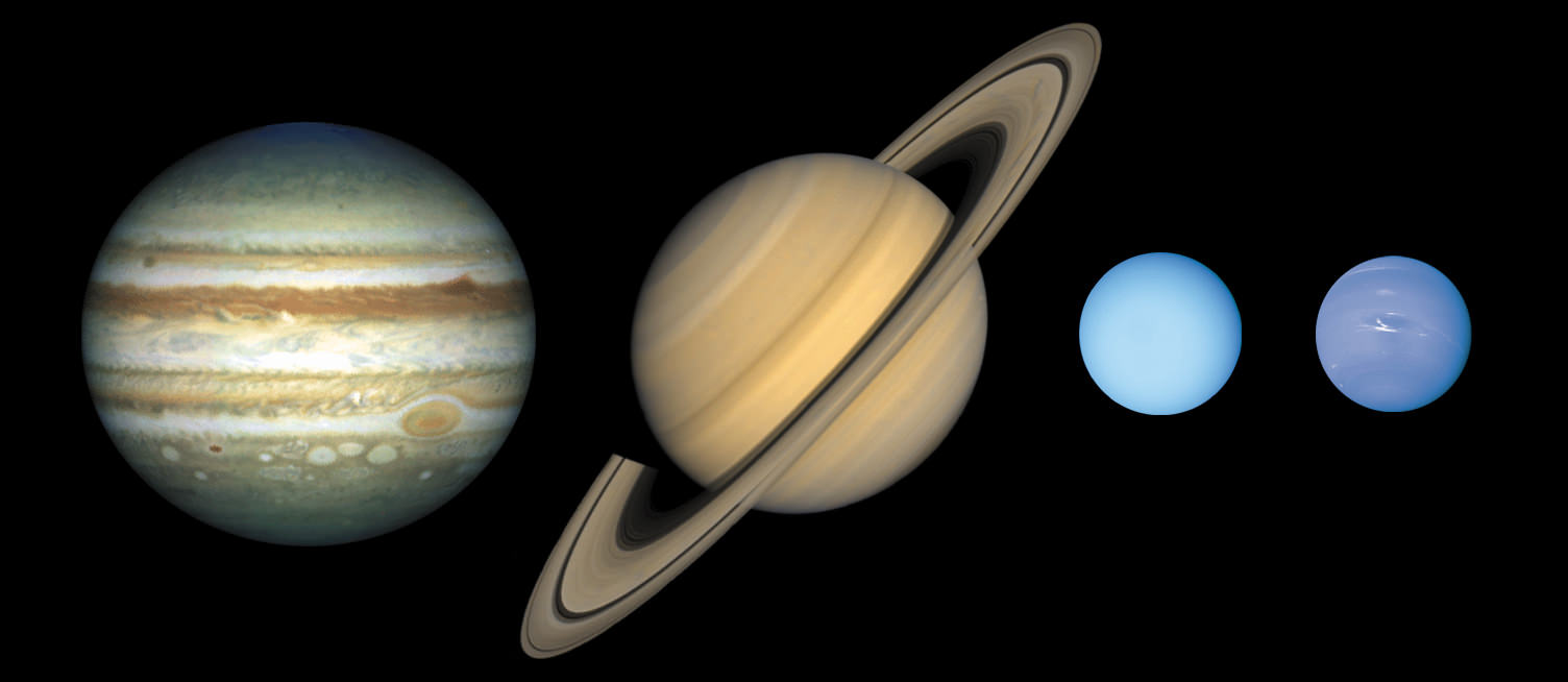 Landscape image of the giant planets with Saturn in centre, tilted with rings pointing diagonally. Jupiter and Neptune showing cloud features, Uranus is plane.