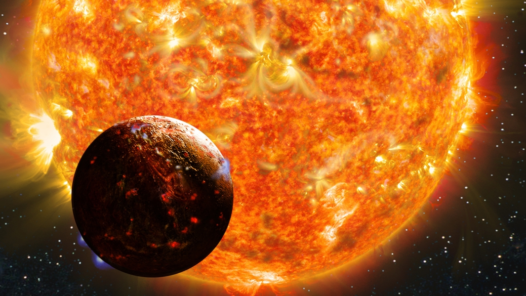 Molten exoplanet almost silhouetted against bright churning star in background.