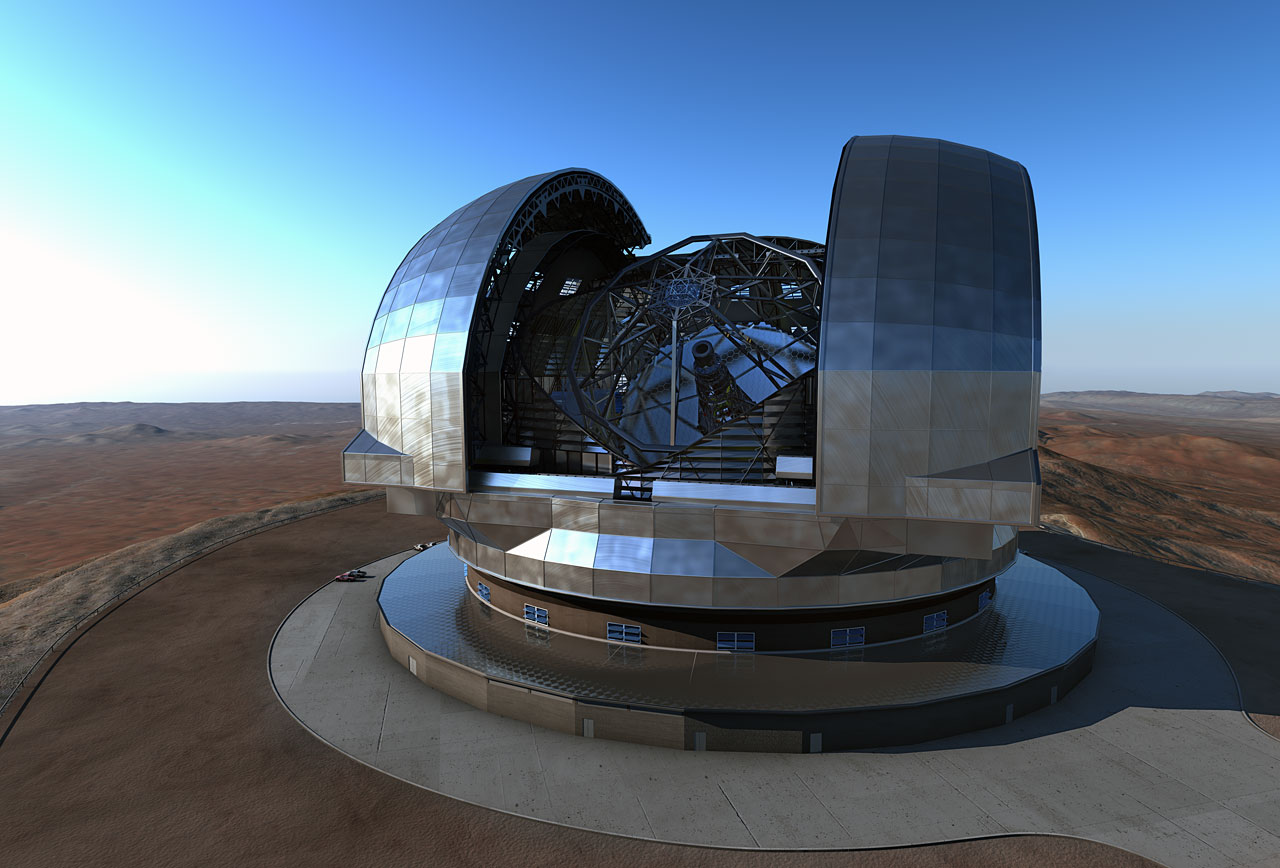 Graphic of a large telescope in the middle of a desert within a housing unit. The housing unit has opened its wind doors and the telescopes mirror can be seen inside.