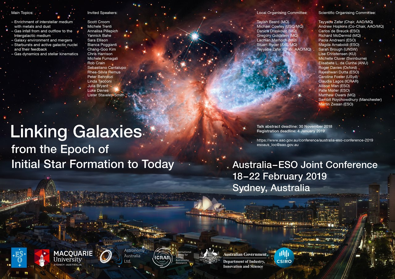 Conference poster showing dates, people and topics for discussion. Image of Sydney city situated below a bright nebula in the sky.
