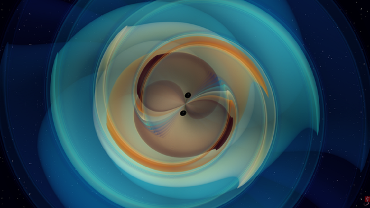 Illustration of two black holes generating gravitational waves