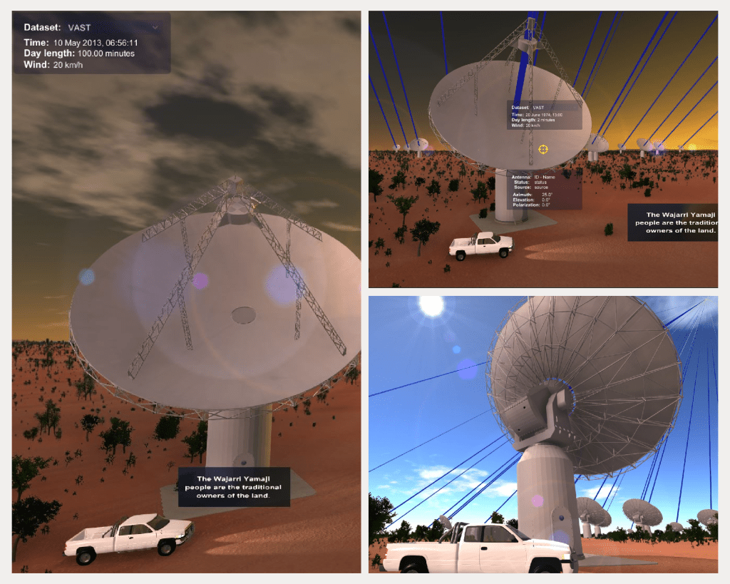 A compilation of three images. One shows a telescope dish pointed towards the viewer in a landscape of red dirt. There is a white car parked underneath it. The second image shows a similar scene to the first, with more telescopes visible, and a series of blue lines extending from the telescopes into the sky. The third image shows the same scene again, however this time from an angle that looks from behind the telescopes towards the direction they are pointing.