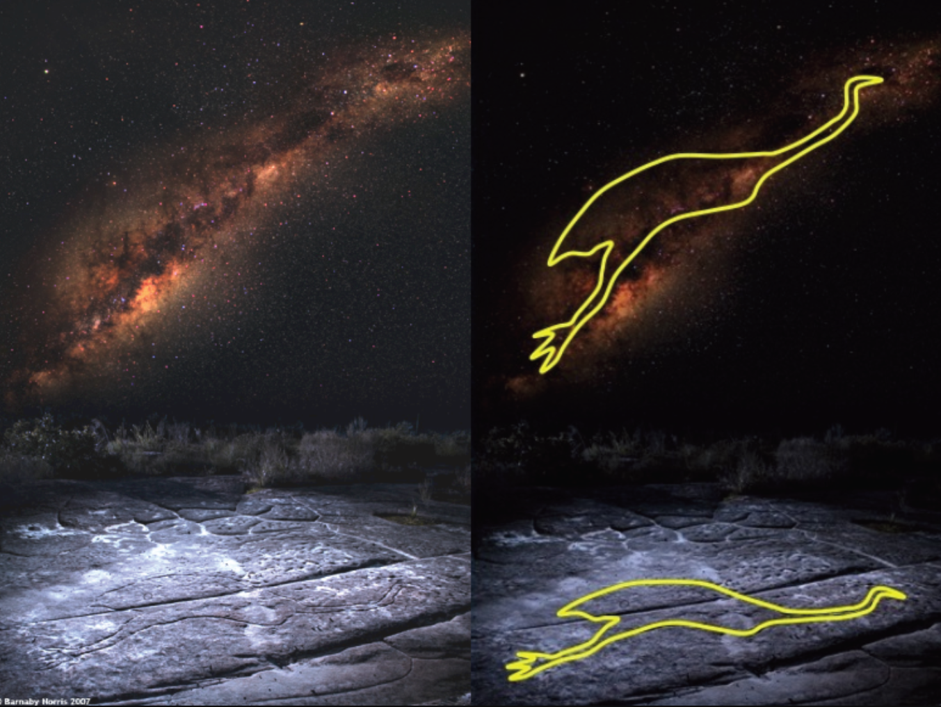 Two panel image. In the foreground, rock carvings in the ground which indicate the shape of an emu. In the background, the Milky Way arch, with the image of the emu overlain on top.