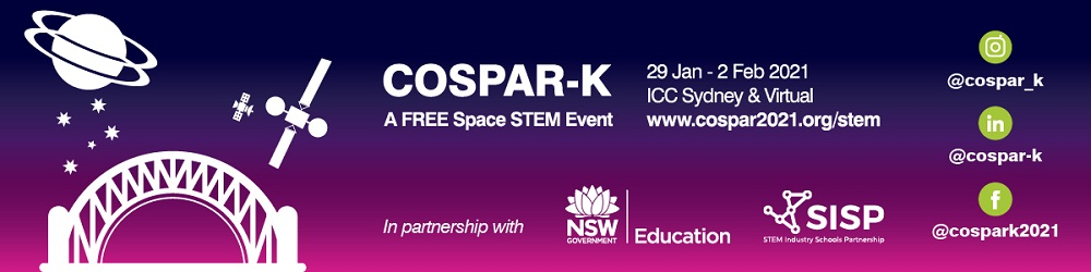banner image of COSPAR-K event showing dates and logos
