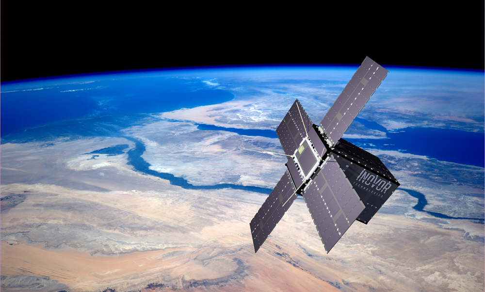 Illustration of a satellite with Inovor branding orbiting above space, with its solar panels all extended.