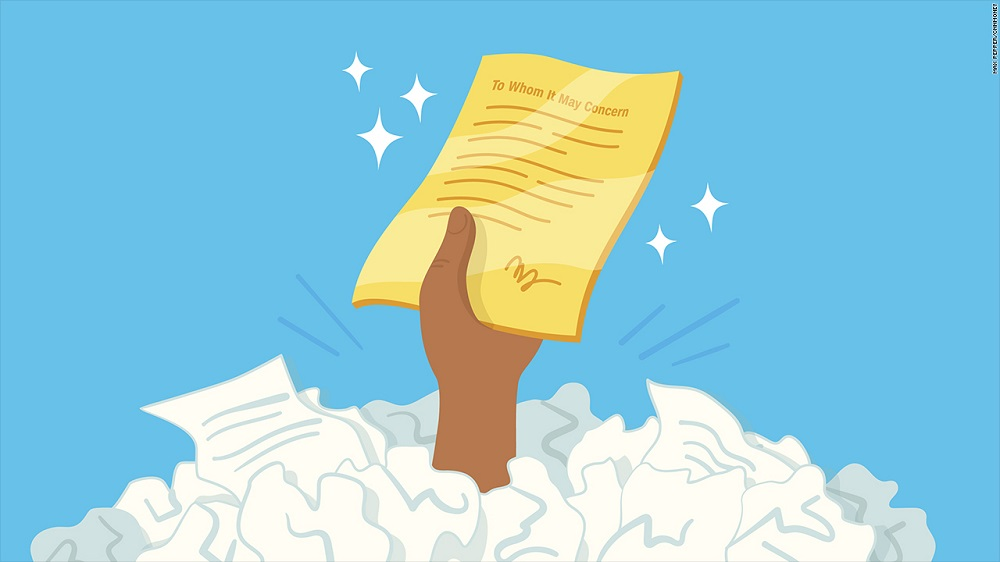 Illustration of a hand emerging from a bunch of scrunched up papers holding a gold cover letter surrounded by sparkling stars.