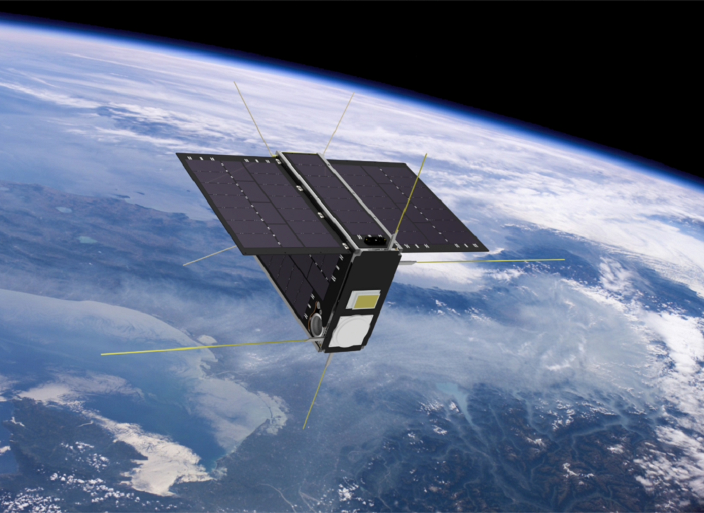 Illustration of a satellite in orbit with its antennas extended