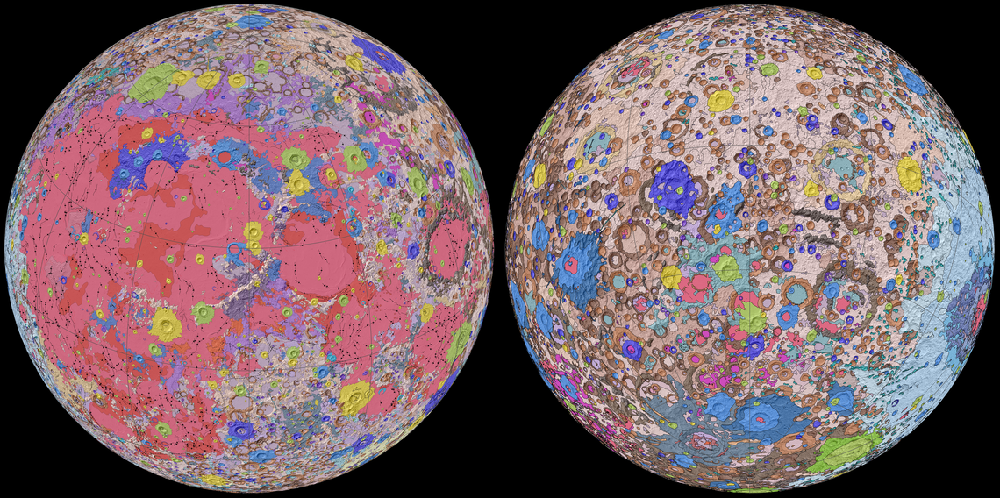 Two faces of the moon are shown overlaid with multiple colours showing topographic features.